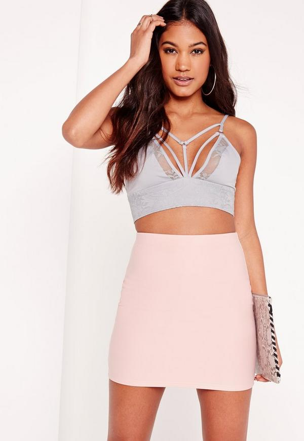 Harness Detail Lace Bralet Grey