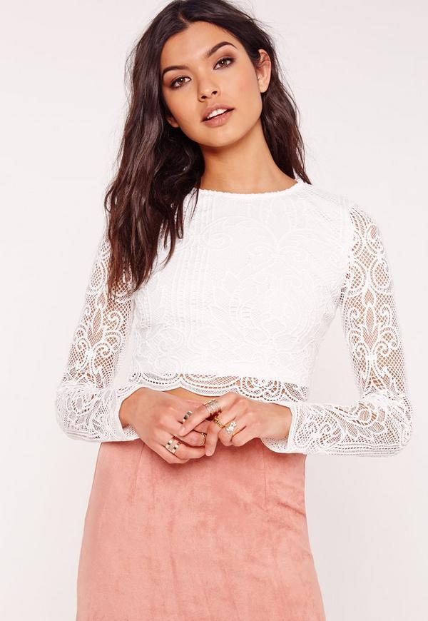Crochet Lace Crop Top White