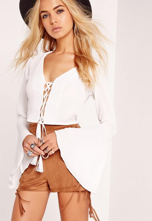 Lace Up Front Bell Sleeve Crop Top White
