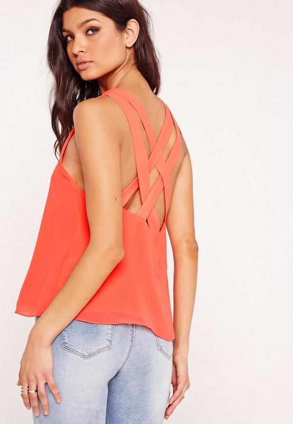 Cross Back Chiffon Vest Pink