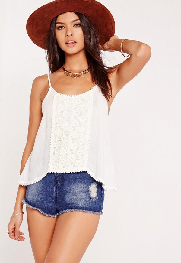 Crochet Front Cami Top White