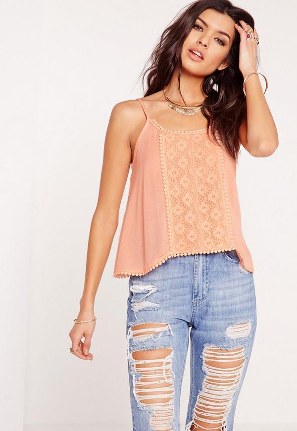 Crochet Front Cami Top Pink