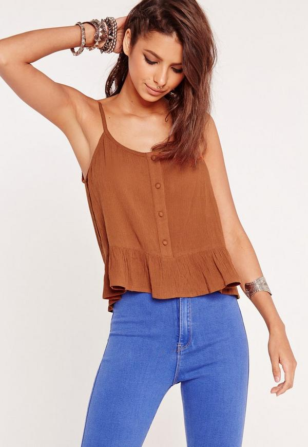 Frill Hem Button Cami Top Tan