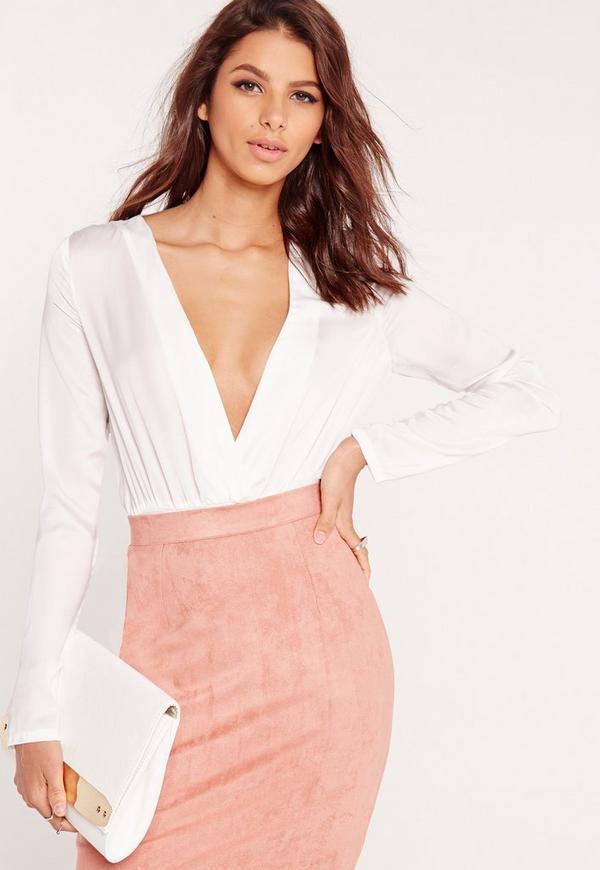 Long Sleeve Silky Bodysuit White