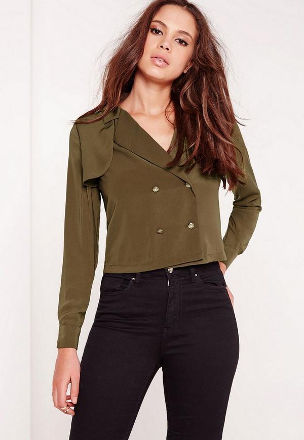 Military Style Blouse Khaki