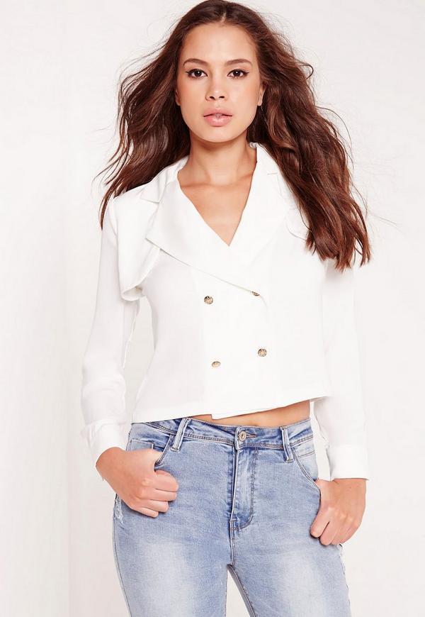 Military Style Blouse White