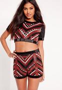 Chevron Beaded Crop Top Black