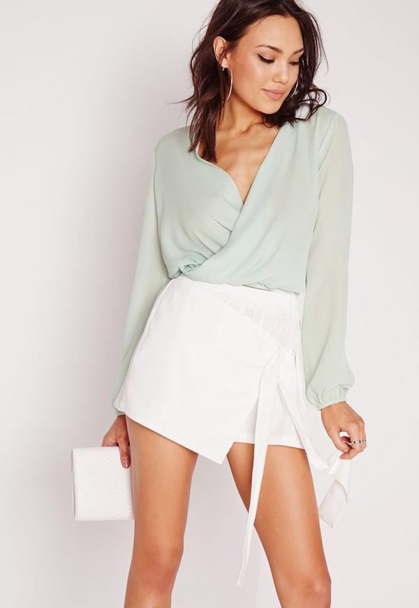 Cropped Wrap Blouse Green