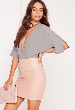 Kimono Sleeve Bodysuit Grey