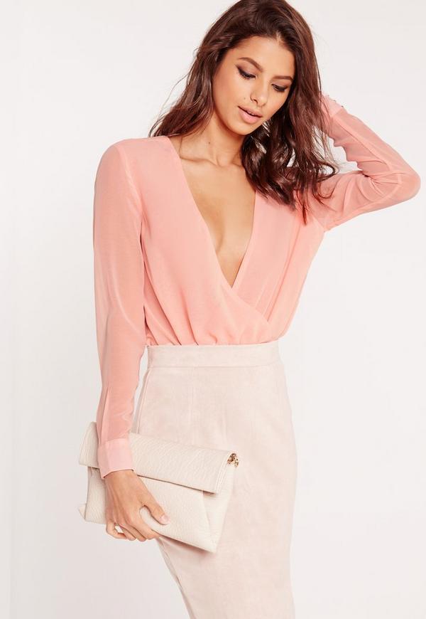 Chiffon Plunge Bodysuit Pink