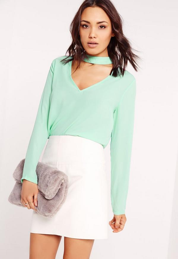 Choker Plunge Cut Out Blouse Green