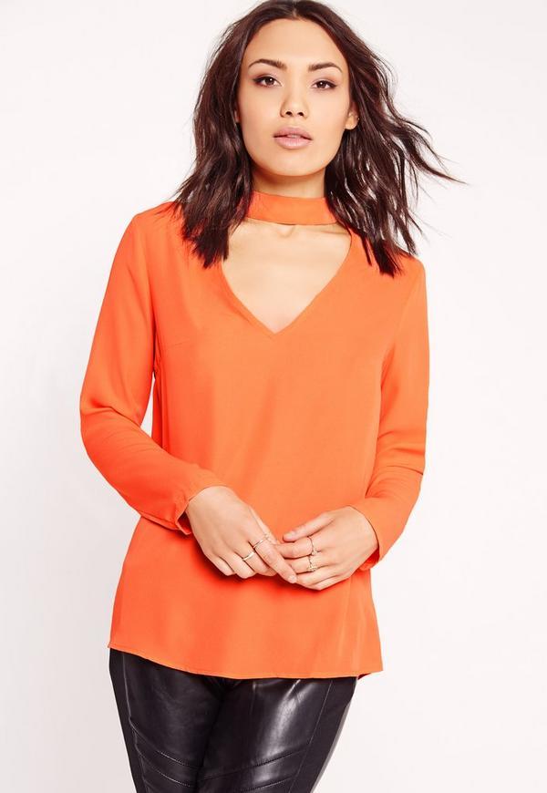 Choker Plunge Cut Out Blouse Orange