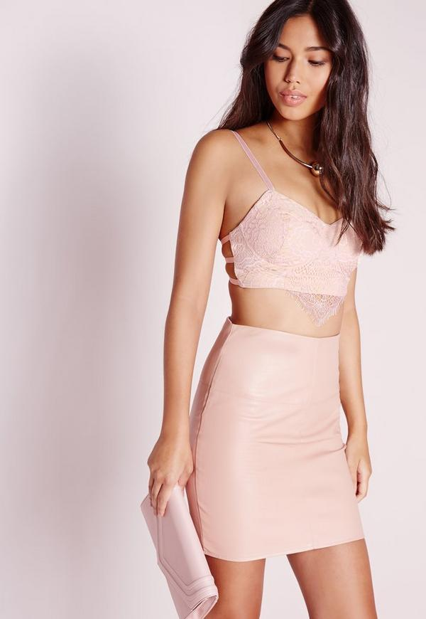 Lace Overlay Strappy Bralet Pink/Nude