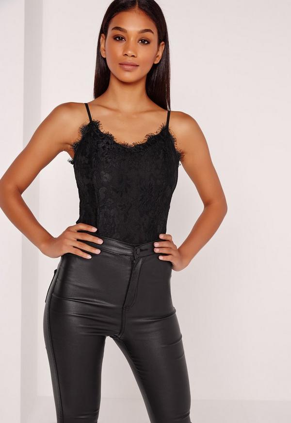 Lace Overlay Bodysuit Black