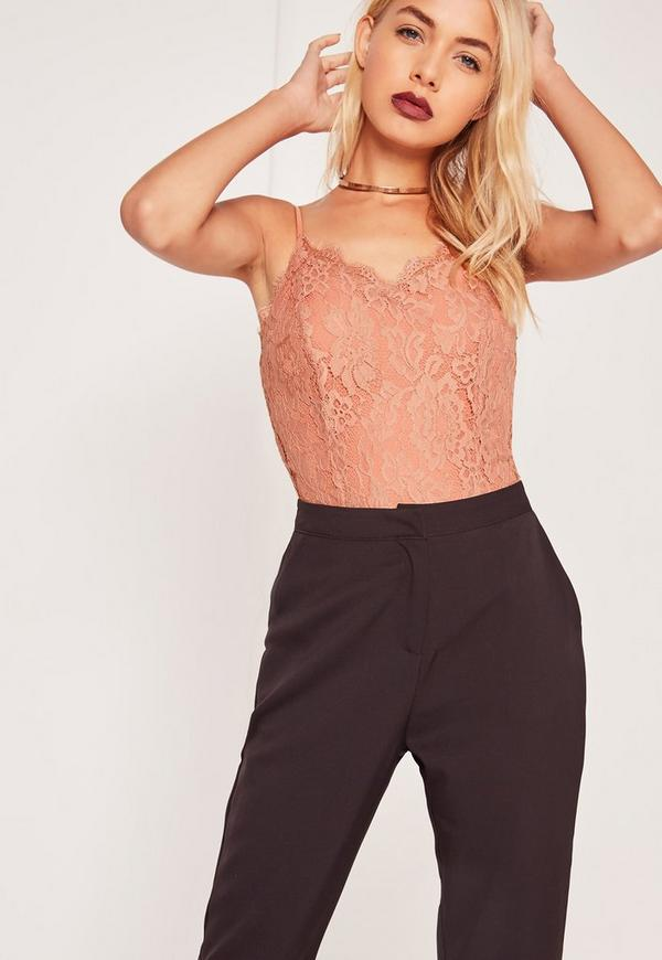 Lace Overlay Bodysuit Pink