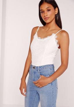 Lace Overlay Bodysuit White
