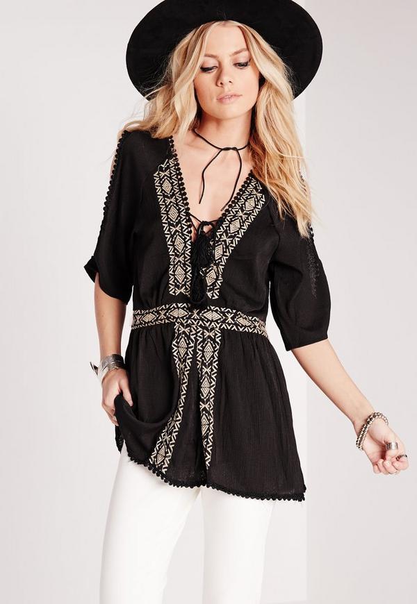 Embroidered Cold Shoulder Tunic Black