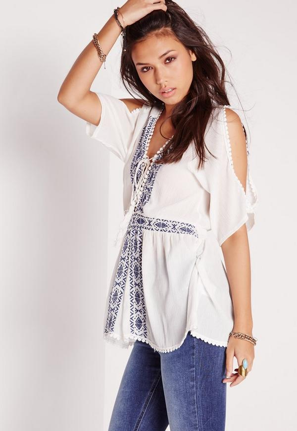 Embroidered Cold Shoulder Tunic White
