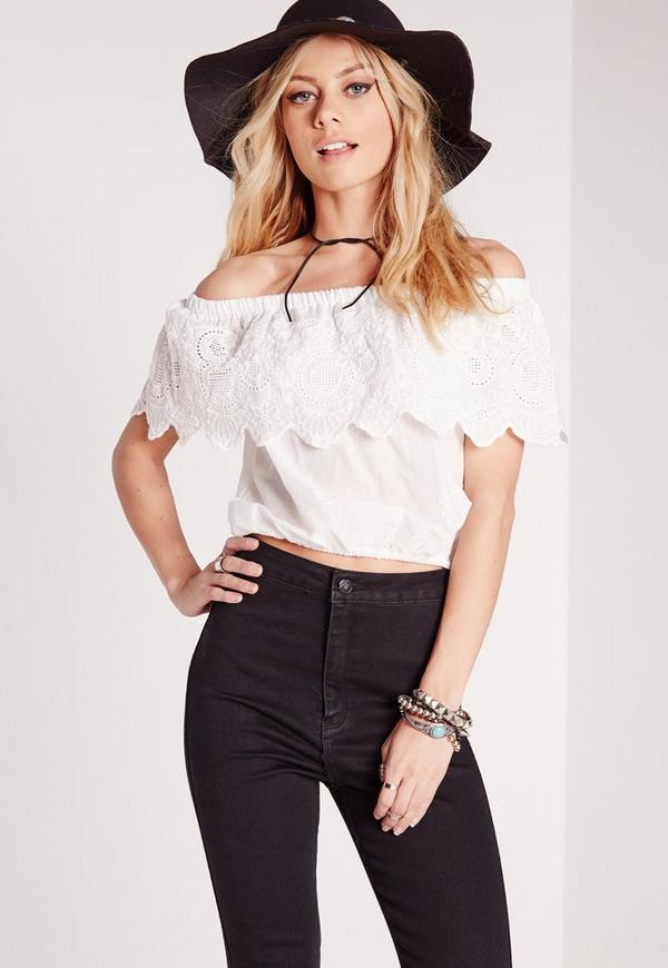 Crochet Frill Bardot Crop Top White