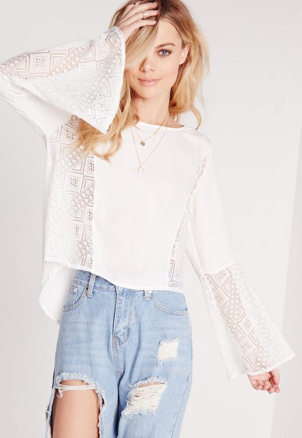 Lace Insert Silky Dip Back Blouse White