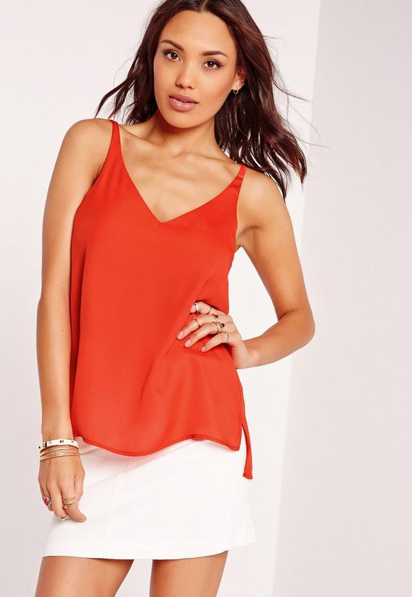 V Neck Chiffon Cami Red