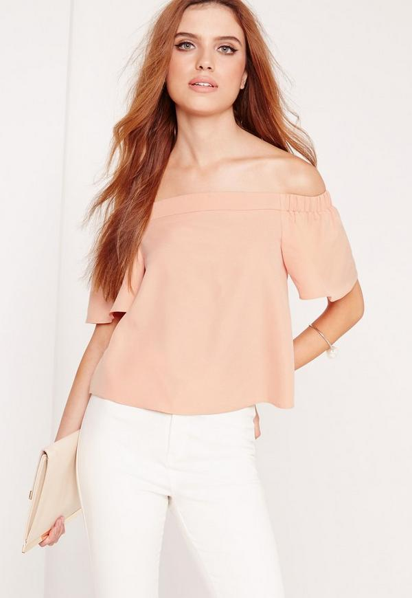 Crepe Bardot Crop Top Nude