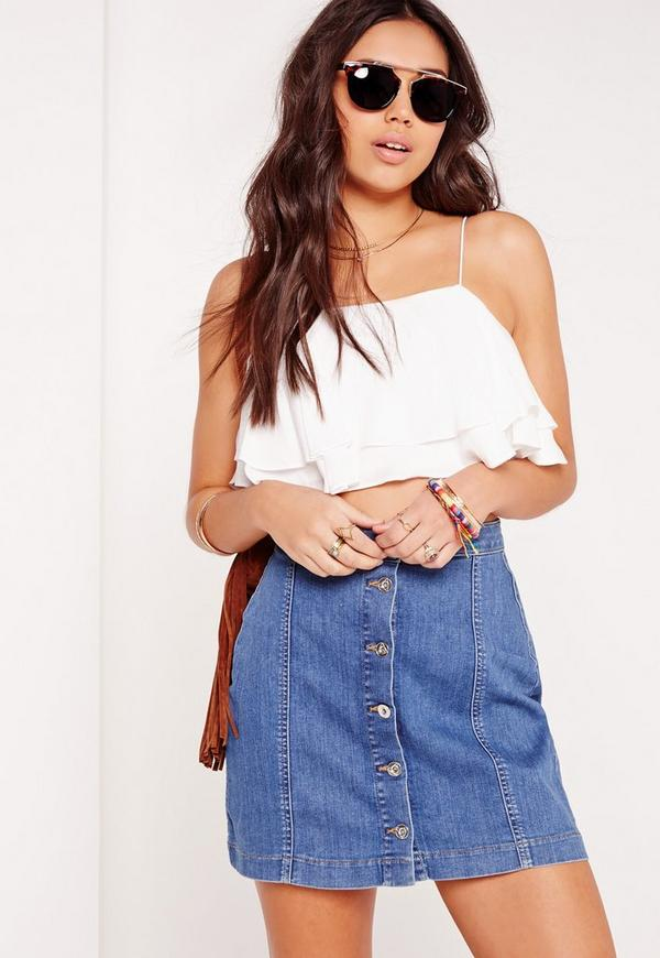 Frill Layered Crop Top White