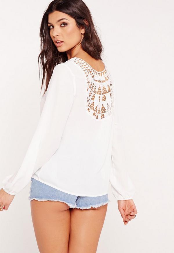 Crochet Back Detail Blouse White
