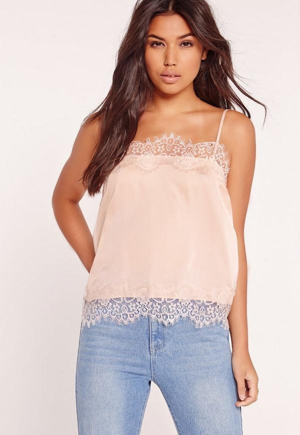 Lace Trim Detail Cami Top Nude