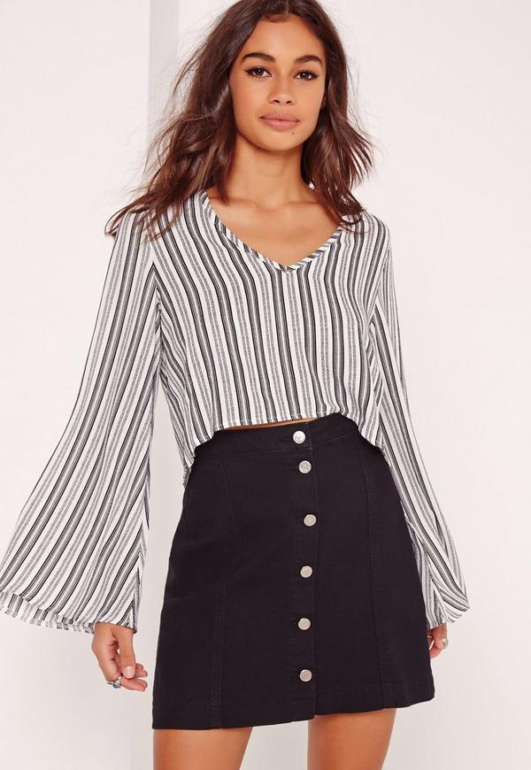 Striped Crepe V-Neck Flared Sleeve Crop Top Multi