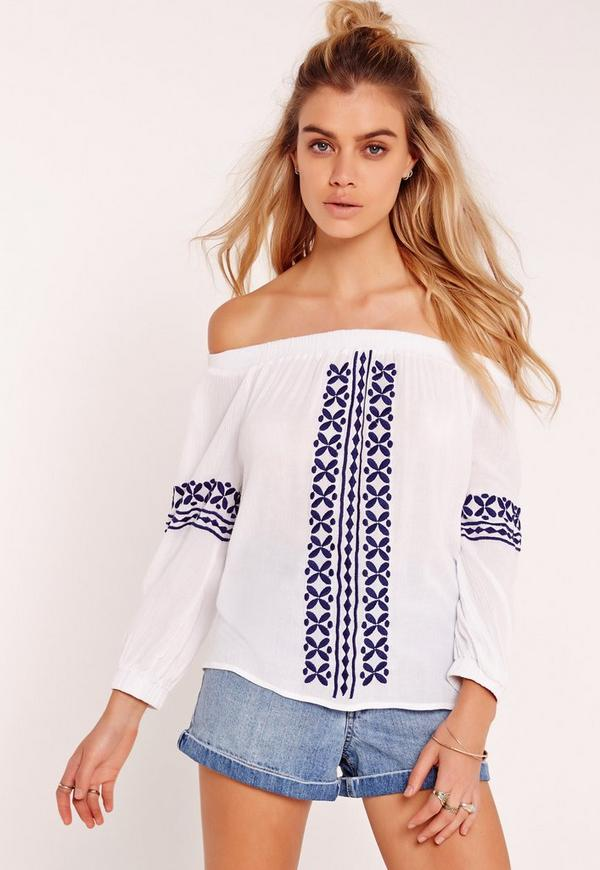 Embroidered Bardot Crop Top White
