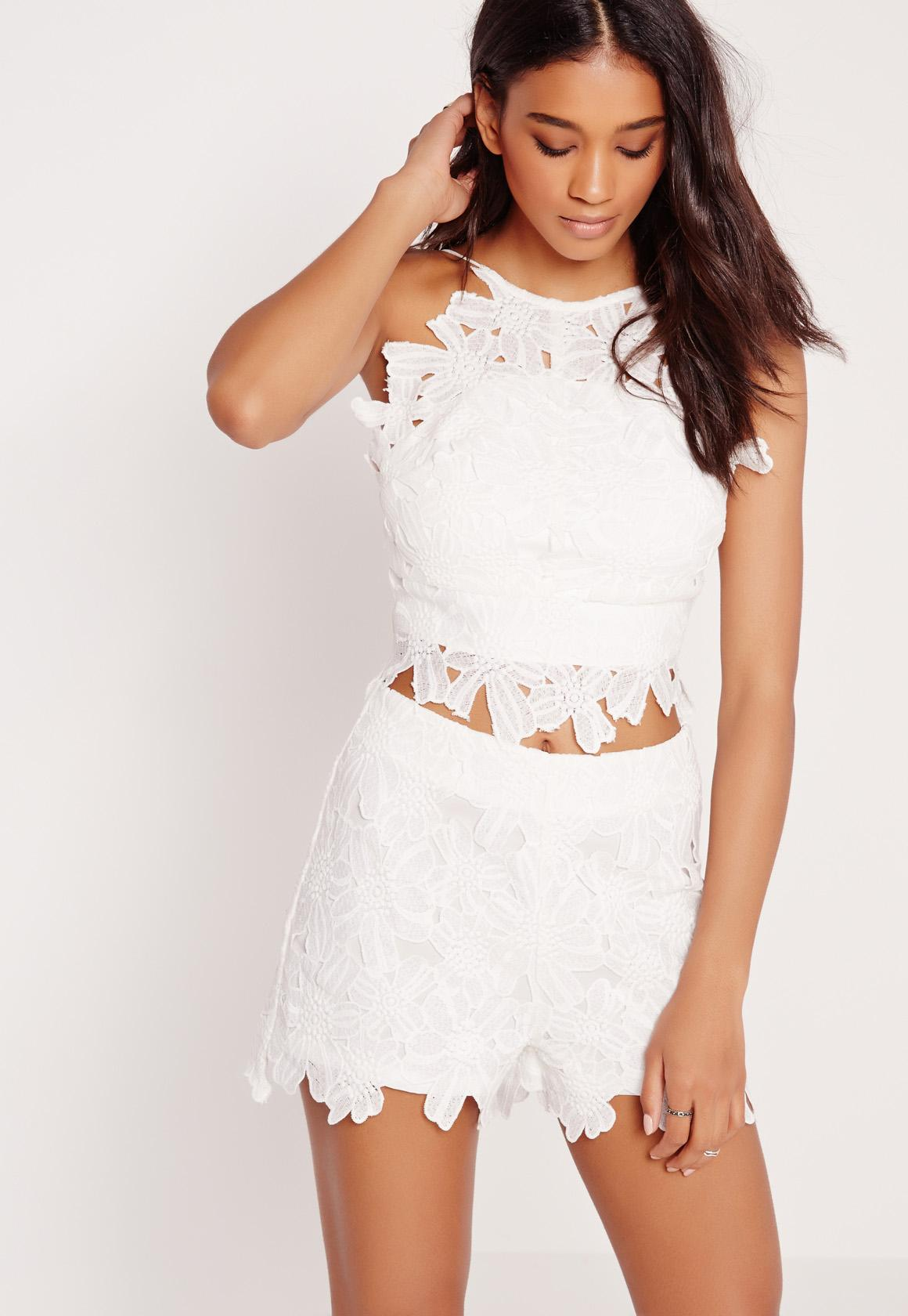 Flower Lace Crop Top White Missguided