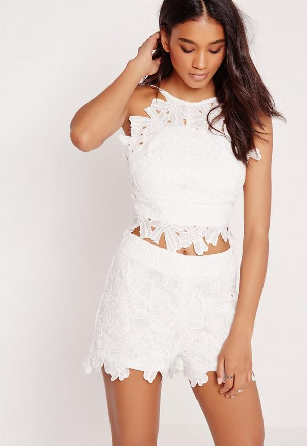 Flower Lace Crop Top White