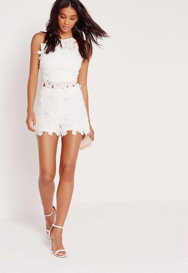 Flower lace crop top white missguided mightylinksfo