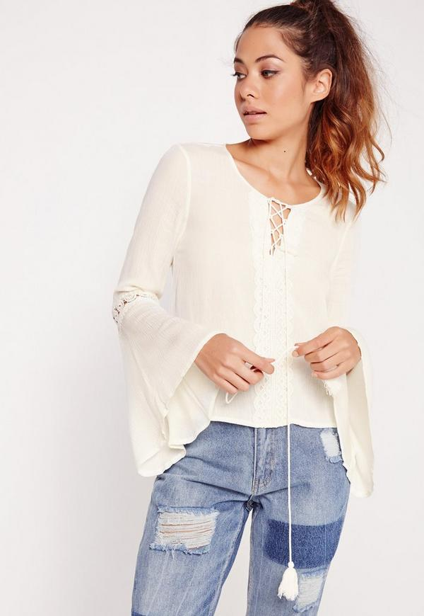Cheesecloth Lace Detail Tie Up Blouse White
