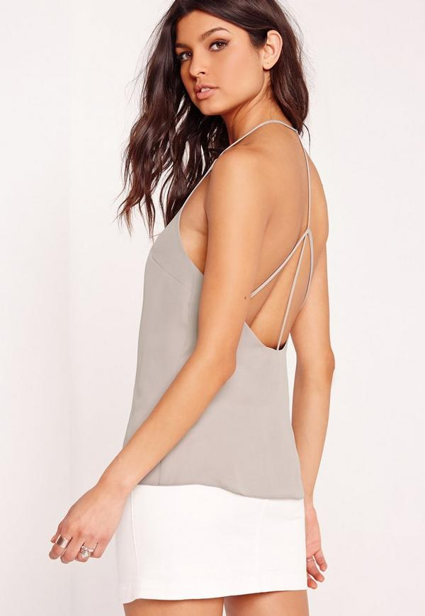 V Front Strappy Back Cami Top Grey