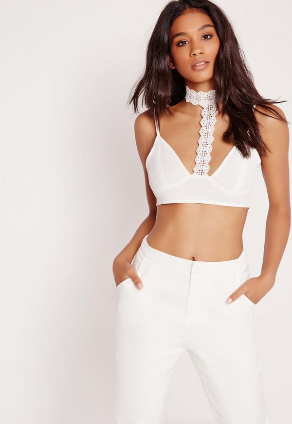 Lace Collar Detail Bralet White