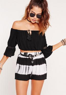 Bardot Short Sleeve Crop Top Black
