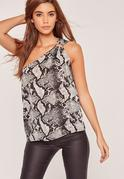 Snake Print Ring Detail One Shoulder Top Grey