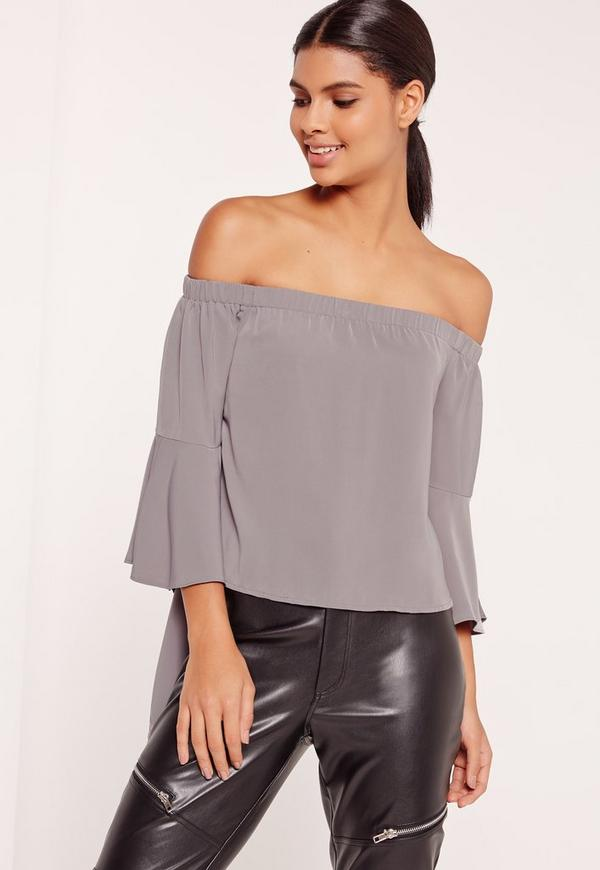 Flare Sleeve Bardot Blouse Grey