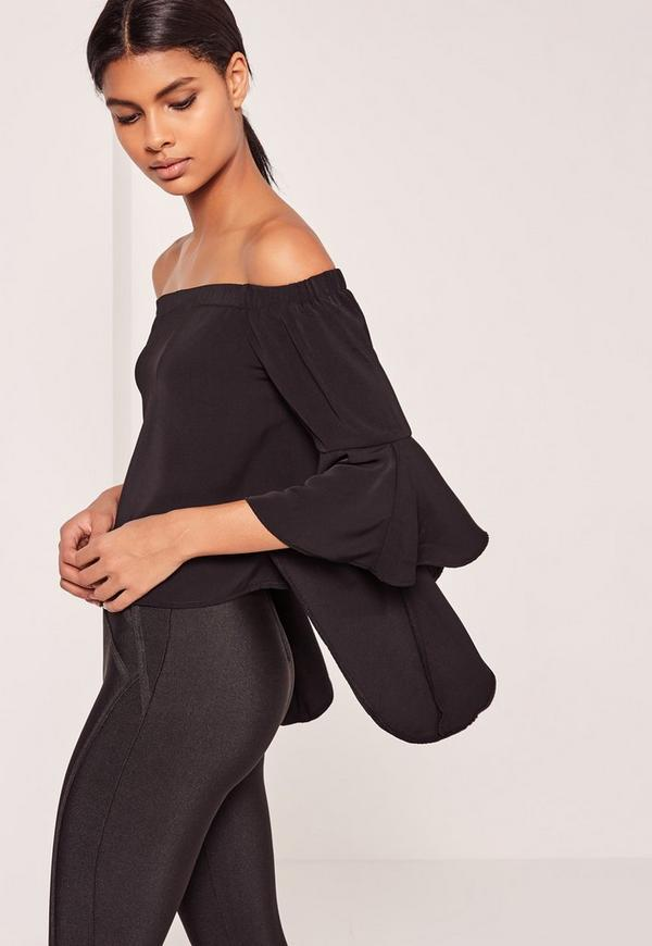 Flared Sleeve Bardot Blouse Black