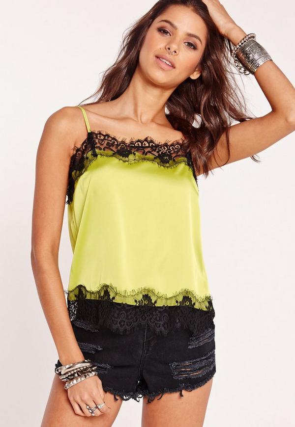 Lace Trim Detail Cami Top Green