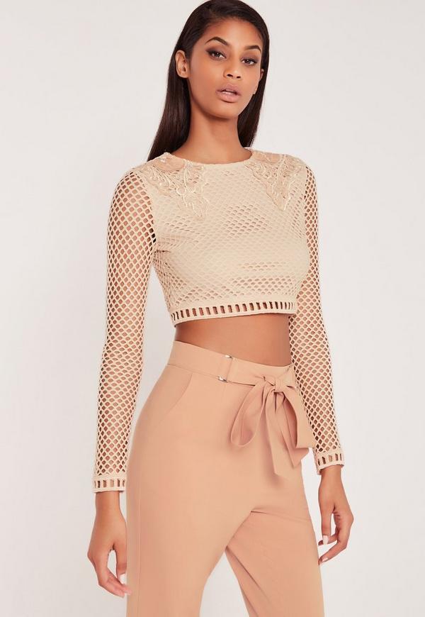 Carli Bybel Premium Lace Long Sleeve Crop Top Nude