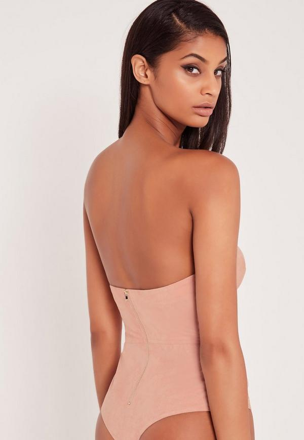 Carli Bybel Faux Suede Strapless Busty Bodysuit Pink
