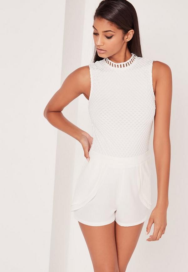 Carli Bybel High Neck Fishnet Bodysuit White