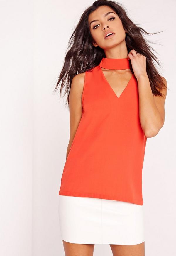 Choker neck blouse Orange