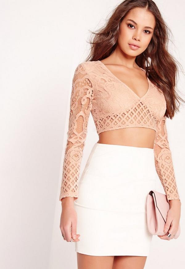 Lace Plunge Long Sleeve Crop Top Pink