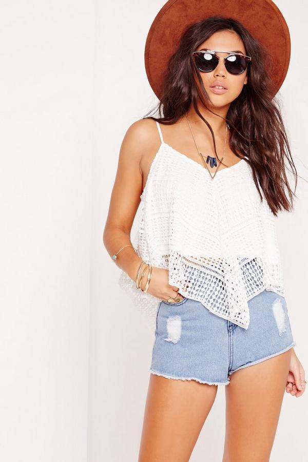 Diamond Lace Cami Top White