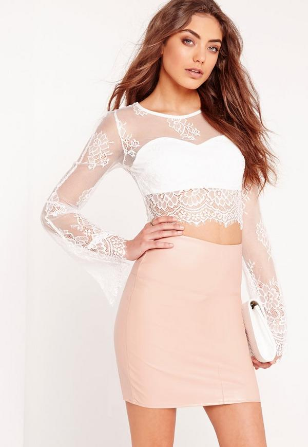 Lace Bell Sleeve Crop Top White