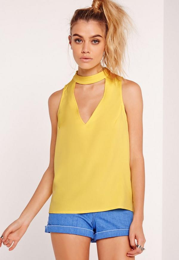 Choker Neck Vest Top Yellow